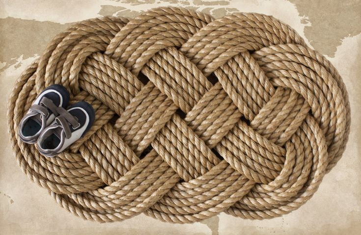 Large braided rope nautical welcome mat sailor 39 s ocean for Large nautical rope
