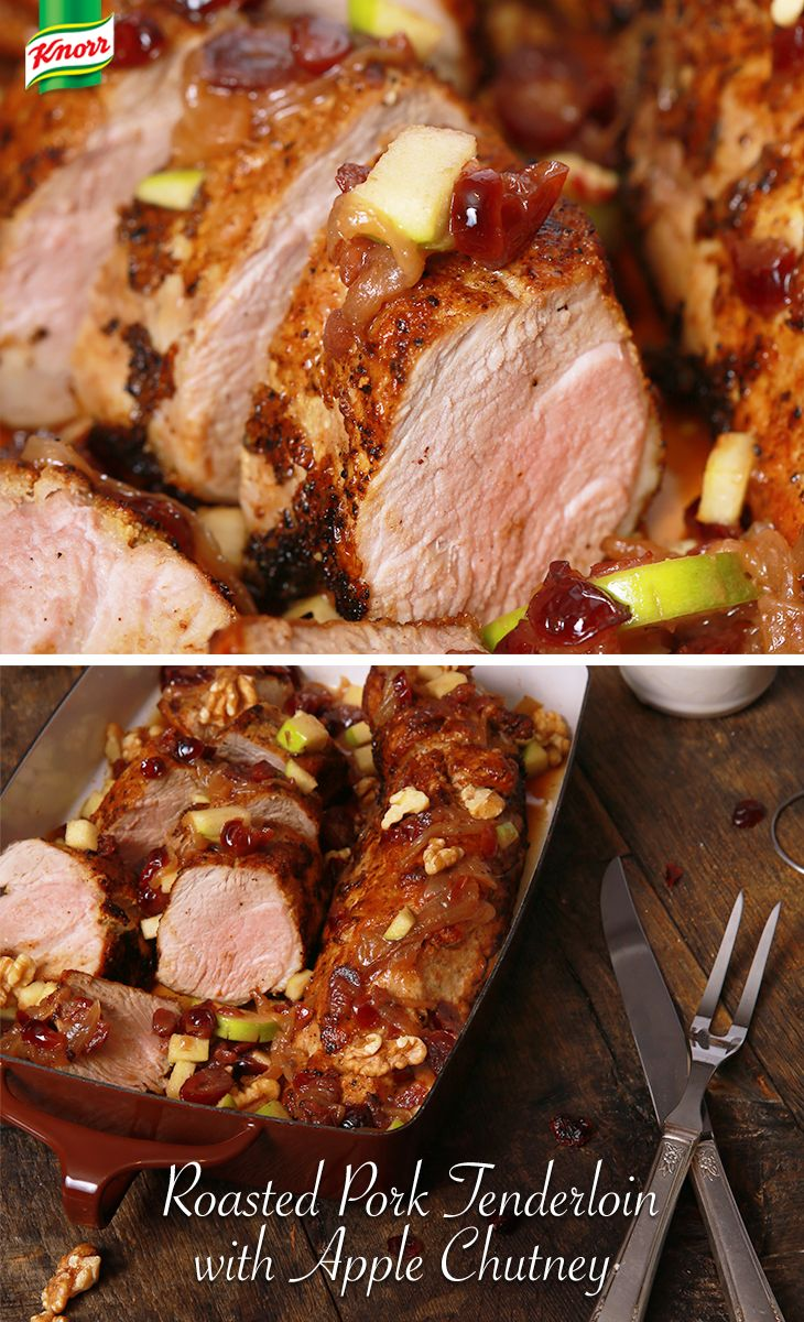 Plan a holiday dinner your guests will remember with this Knorr Roasted Pork Tenderloin with Apple Chutney recipe! Packed with seasonal flavors, your house will smell irresistible. Preheat oven to 450°. Combine apples, dried cranberries, & walnuts in medium roasting pan. Next, season pork with salt & pepper and place on top of the apple mixture. When done, combine the remaining ingredients and pour over the pork and apple mixture. Roast for 30 minutes or until pork is cooked to desired…