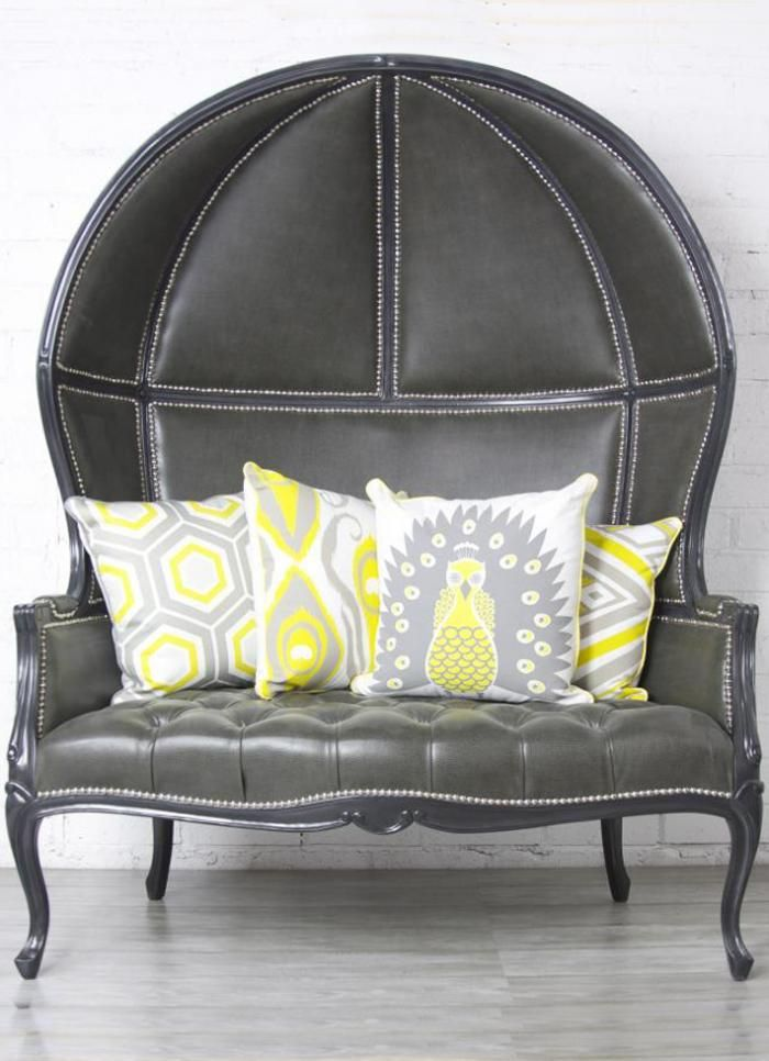 Balloon Chair Loveseat in Charcoal Gray Faux Leather $2295.00
