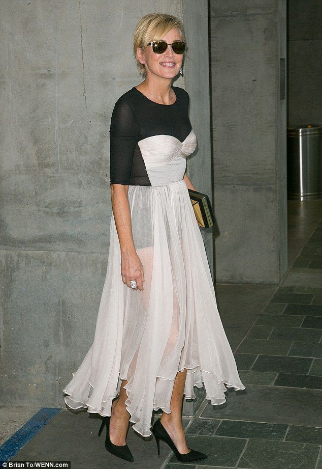 Quirky costume: Sharon Stone turned up at the Actors Fund's Tony Awards viewing party in L...