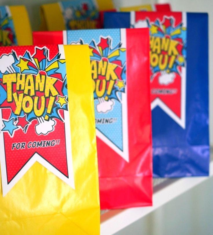 A Pow Wow Superhero Birthday Party: Cute goodie bags