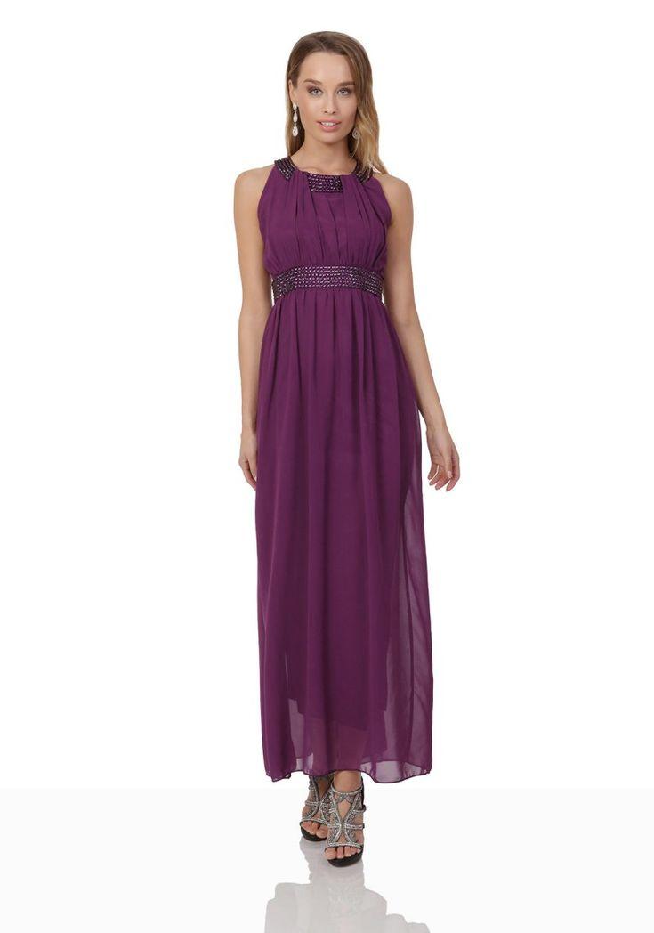 Lila Abendkleid aus Chiffon mit breiten Strass ...