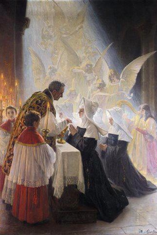 Priest giving Communion to a Daughter of Charity nun - artist unknown