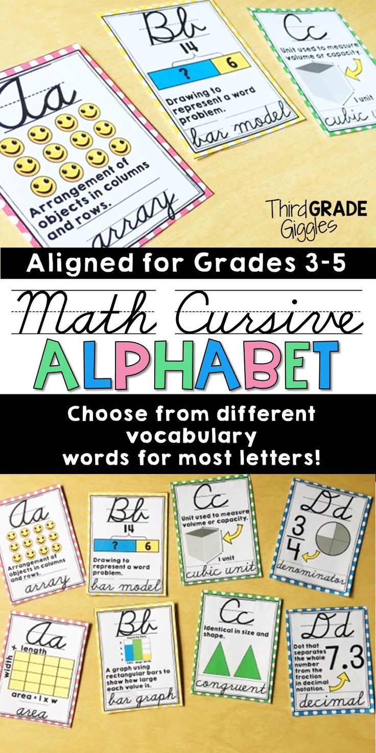 Kick off back to school season with this cursive math alphabet. Alphabet words are aligned to math vocabulary found in grades 3-5 standards. Most letters include two options for you to pick and choose which vocabulary words to display. Help your students understand math vocabulary while displaying this alphabet. Click to see a full list of each letter included in this set.