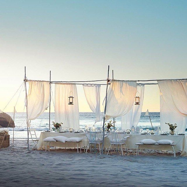 FOR THE RECEPTION || Bohemian luxe outdoor beach dinner on the sand with soft drapes, lanterns and long tables || NOVELA...where the modern romantics play & plan the most stylish weddings (Instagram: @novelabride) www.novelabride.com