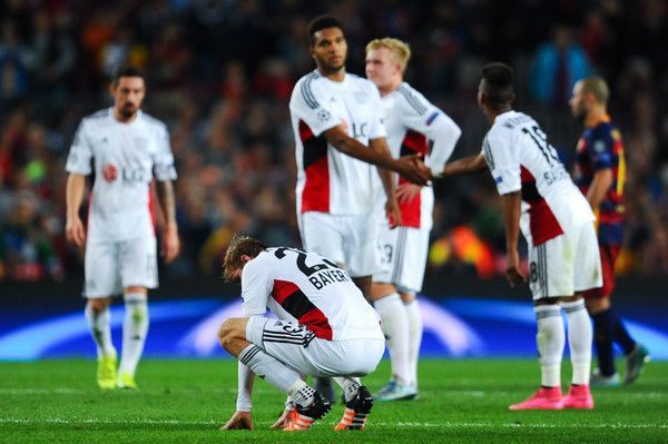 Bayern 04 Leverkusen players reacts dejected at the end of the UEFA Champions League Group E match between FC Barcelona and Bayer 04 Leverkusen on September 29, 2015 in Barcelona, Catalonia.