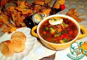 Рецепт: Суп с зеленой фасолью и колбасками