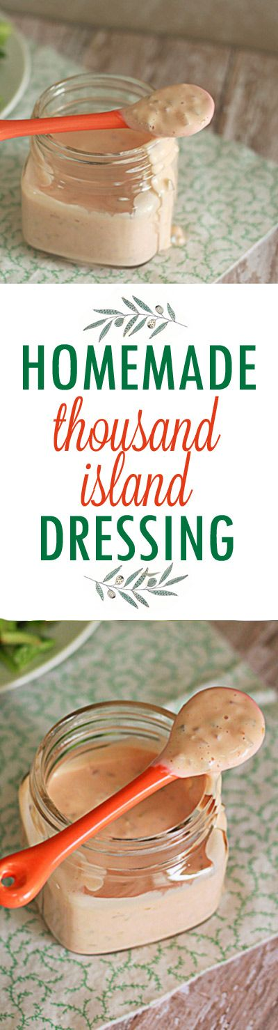 """Homemade 1000 Island Dressing recipe - Five minutes and a little chilling time in the fridge for a tangy, zesty, """"secret"""" sauce that's equally at home on a piled-high burger as it is atop a nice, simple bed of greens. Less expensive than store-bought and tastes, well, 1000 times better. With vegan option."""