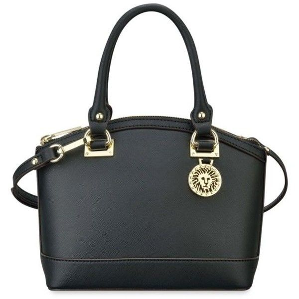 Anne Klein Black New Recruits Small Dome Satchel (5655 RSD) ❤ liked on Polyvore featuring bags, handbags, black, dome satchel purse, anne klein purses, dome satchel, strap purse and logo bags