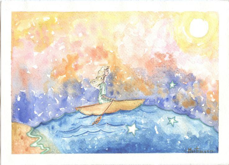 *el idioma infinito. En torno suyo nada encuentra salvo una embarcación en apariencia quebradiza.Sobre el regazo, al acompasado ritmo del remo que tomó decidida, lleva la alhaja que el amor conjurara y hacia él encamina su peligrosa empresa. 7.-La mar en torno, la balsa danzando va sobre la celeste bóveda de titilantes astros, el mapa las alas que al viento esperanzadas vuelan. Sonrisa curva de Psique el labio, palpitando al ritmo de su incesante remo. Confía, el puerto espera.