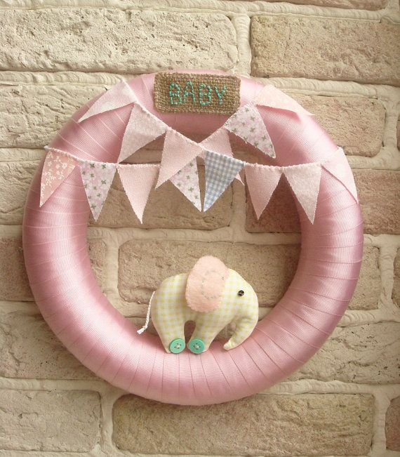 BABY WREATH Baby Room Nursery Wreath Elephant by sistersdreams, £22.00