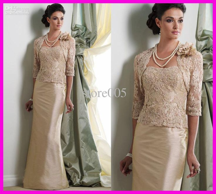 Wholesale Unique Gold Appliqued Lace Mother of the Bride/Groom Gowns Dresses With Jacket M1225, Free shipping, $104.16-125.44/Piece | DHgate