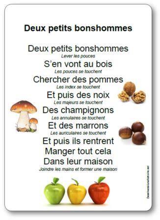 Paroles Deux petits bonshommes : Deux petits bonshommes s'en vont au bois chercher des pommes et puis des noix des champignons et des marrons