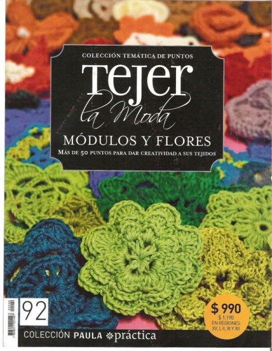 """LIBRO: """"Tejer modulos y Flores"""" Más de. 50 motivos para tejer a ganchillo o crochet."""