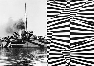 'Dazzle' camouflage on a first world war battleship, and Patternity's own design inspired by zebra stripes.