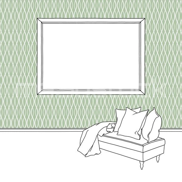 #Black #pen #sketch #drawing of #blank #picture #frame on #green #decorated #wallpaper next to #footstool