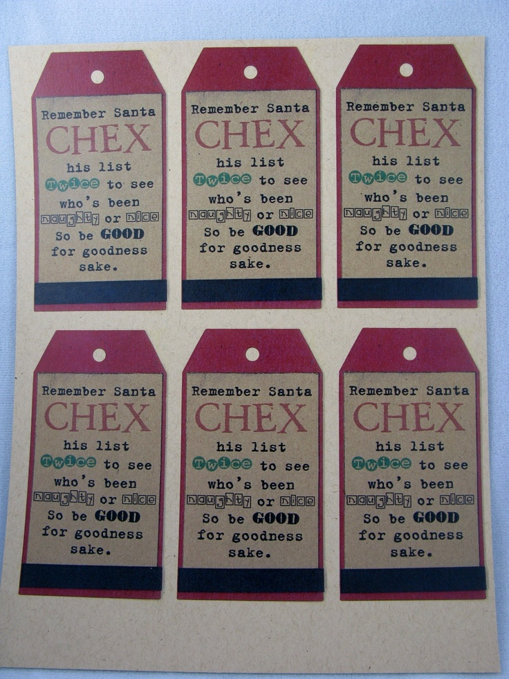 "Santa ""CHEX"" his list twice... add tag to chex mix: Neighbor Christmas, Add Chex, Add Tags, Christmas Tag, Santa Chex, Mixed Christmas, Chex Mixed, Christmas Gift Tags, Christmas Gifts"