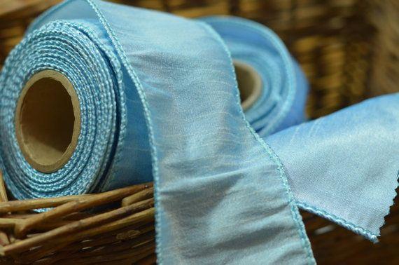 cinta atada con alambre de luz helada azul seda del faux