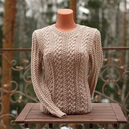 Light beige handmade wool pullover. This trendy hand-knit long sleeve sweater will make you feel extra warm. olgaknit.etsy.com or olgaknit.livemaster.ru