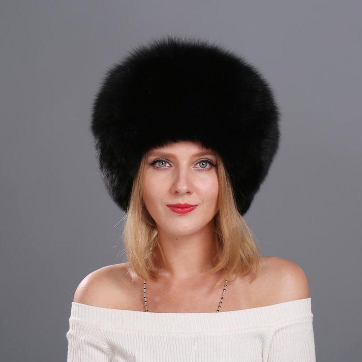 68.00$  Watch now  - 2016 Women 's Genuine Fox Fur Cap Beanies Russian Winter Fur Hat 100% Real Fox Fur Hat Black White Silver Fox