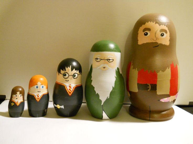Harry Potter nesting dolls. I just laughed out loud forever. But.... I think Ron needs to be the taller one in this.