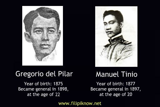Contrary to popular belief, Gregorio del Pilar was not the youngest general of the Philippine Revolutionary Army. The distinction belongs to Manuel Tinio, known by his Katipunan pseudonym Magiting.