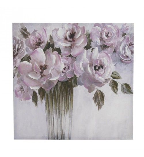 OIL WALL PAINTING CANVAS 'PINK FLOWERS' 61X4X61