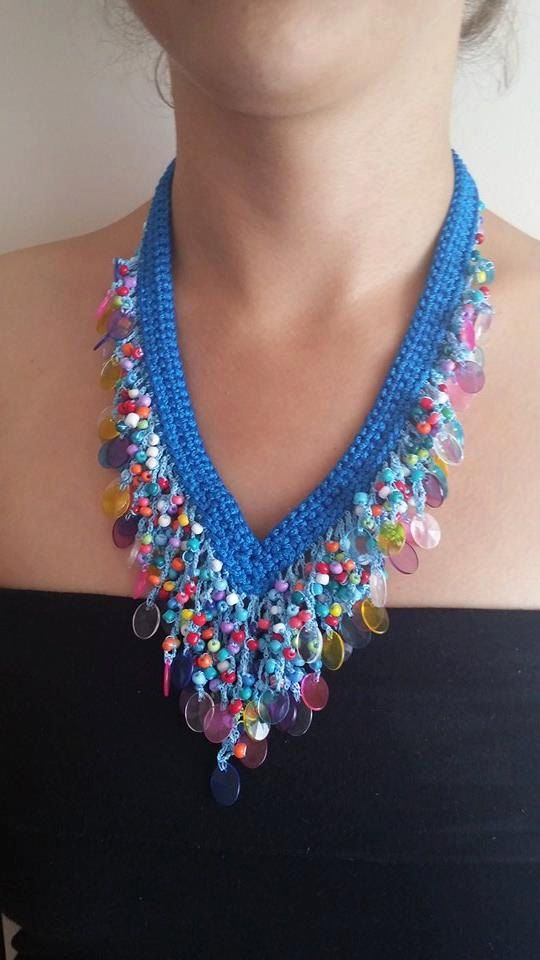 beaded necklace different necklaceblue necklacemesh by TakiSepeti