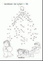 rekenen Kerst - Verbind de stippen t/m 85
