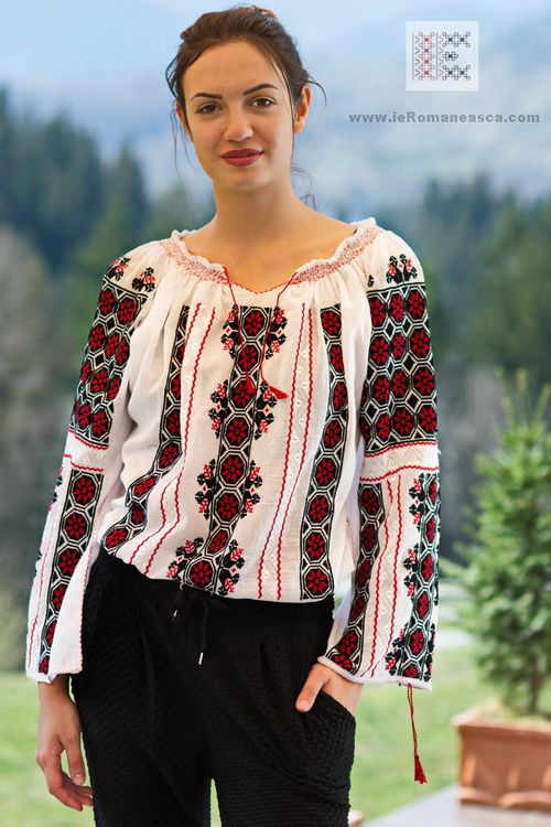 embroidered Romanian peasant blouse roumaine brodee Chemiser Roumain Romanian dress folk costume embroidery