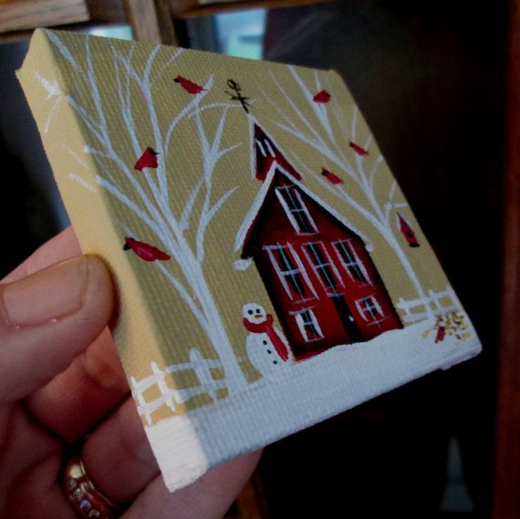 Cardinals in Winter w/ Red House ORIGINAL by EstellesPaintedTreas, $20.00