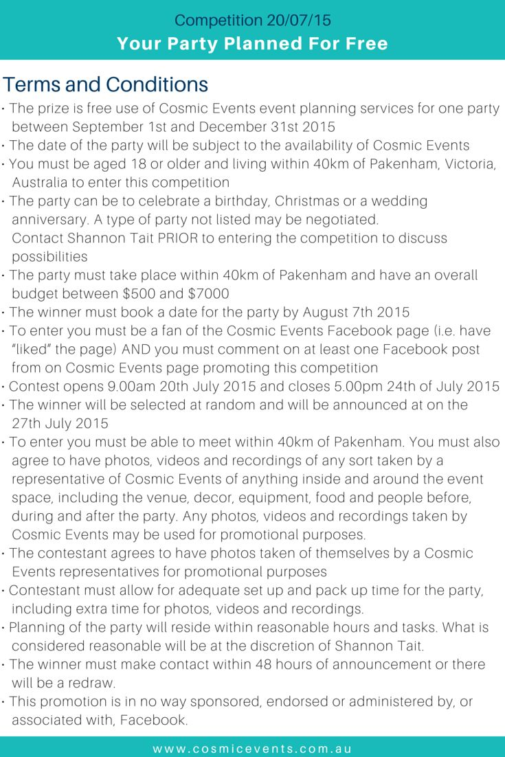 NOW CLOSED - Your Party Planned for Free - Terms & conditions | www.facebook.com/CosmicEventsVic