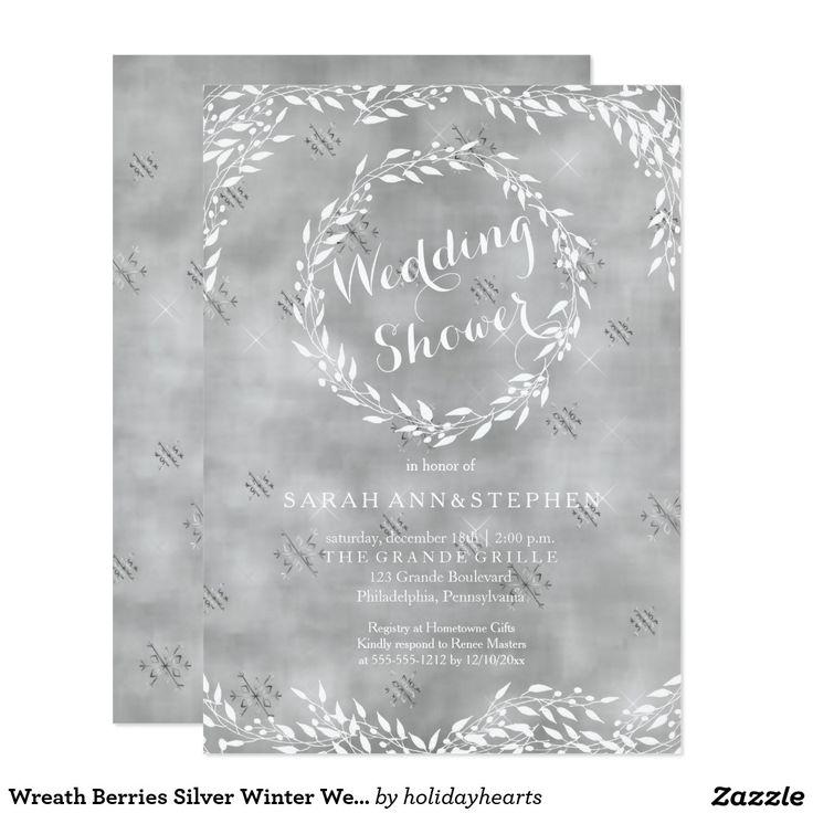 Wreath Berries Silver Winter Wedding Shower #winterwedding #bridalshower #winter #shower #weddingshower #couplesshower