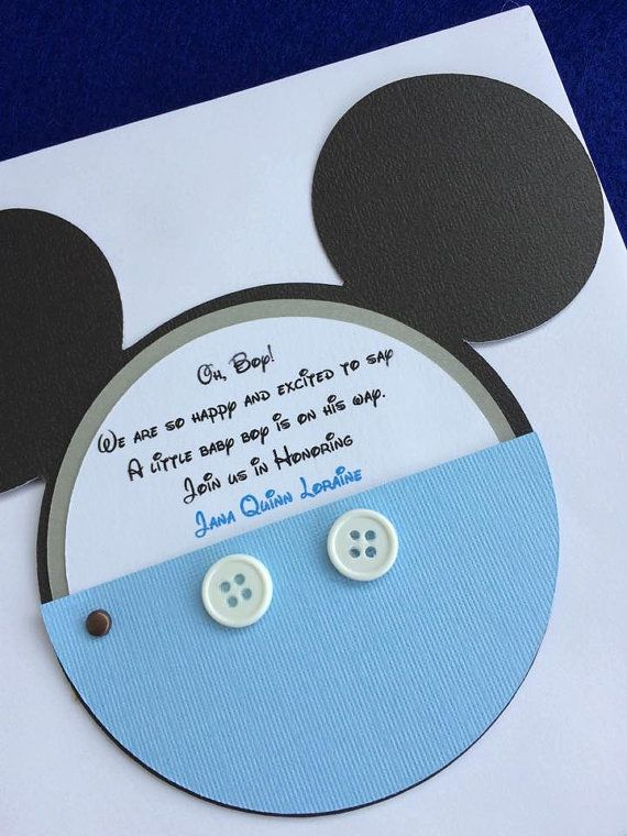 Mickey Mouse Baby Shower Invitation with Real Buttons - Set of 50 - Blue Mickey Mouse