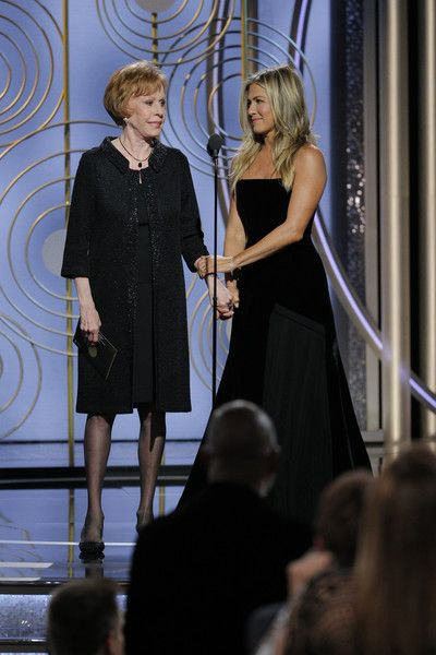 Jennifer Aniston Photos - In this handout photo provided by NBCUniversal, Presenters Carol Burnett and Jennifer Aniston onstage during the 75th Annual Golden Globe Awards at The Beverly Hilton Hotel on January 7, 2018 in Beverly Hills, California. - 75th Annual Golden Globe Awards - Show