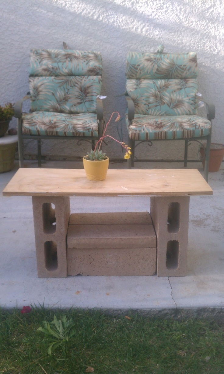 Diy patio furniture cinder blocks -  Old School Cinder Blocks And Scrap Wood Patio Table Pacific Coast Treasure Hunt