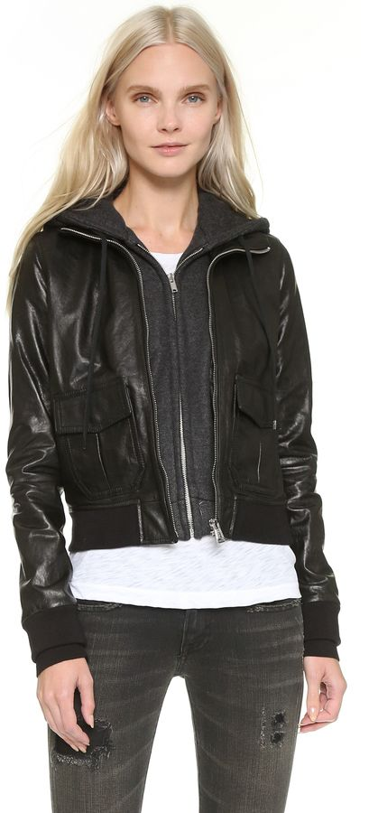$1,395, R 13 R13 Hooded Leather Flight Jacket. Sold by shopbop.com. Click for more info: https://lookastic.com/women/shop_items/397047/redirect