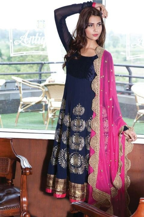 Blue n pink #anarkali #salwar #suit