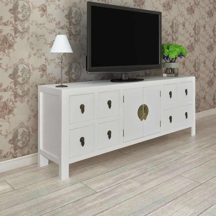 White TV Cabinet Stand Storage Wooden Shelf Sideboard 8 Drawers Unit Furniture
