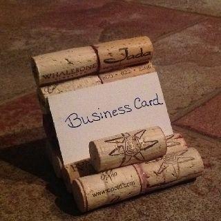Wine cork business card holder