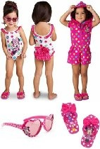 Disney Store Minnie Mouse 4-Piece Swimwear Set for Toddler Girls Size 4T: 1-Piece Swimsuit, Hooded Romper Cover Up, Sunglasses and Flip Flop Sandals (Size 9/10)