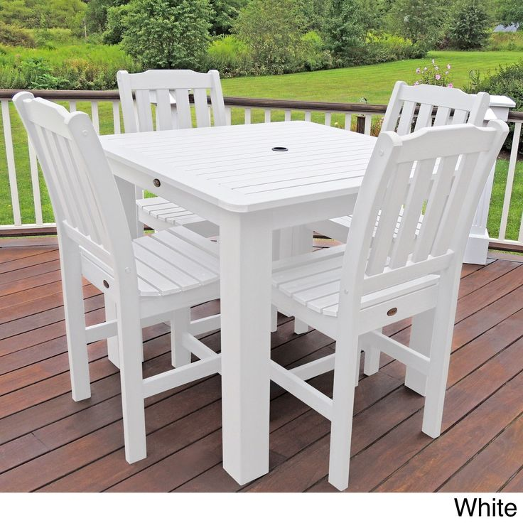 Highwood Eco-friendly Synthetic Wood Lehigh 5-piece Square Counter-height Dining Set (White), Patio Furniture (Plastic)