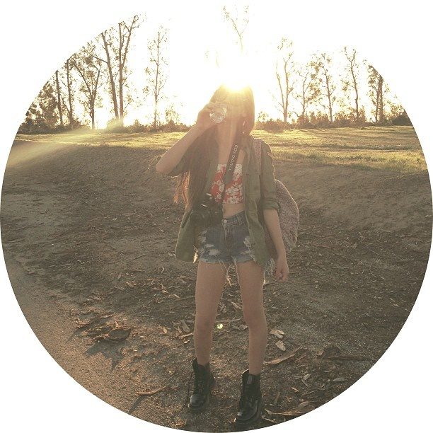 High waisted shorts, floral bandeau, crossbody bag, combat boots, army utility jacket and sunglasses #makeupbymandy24