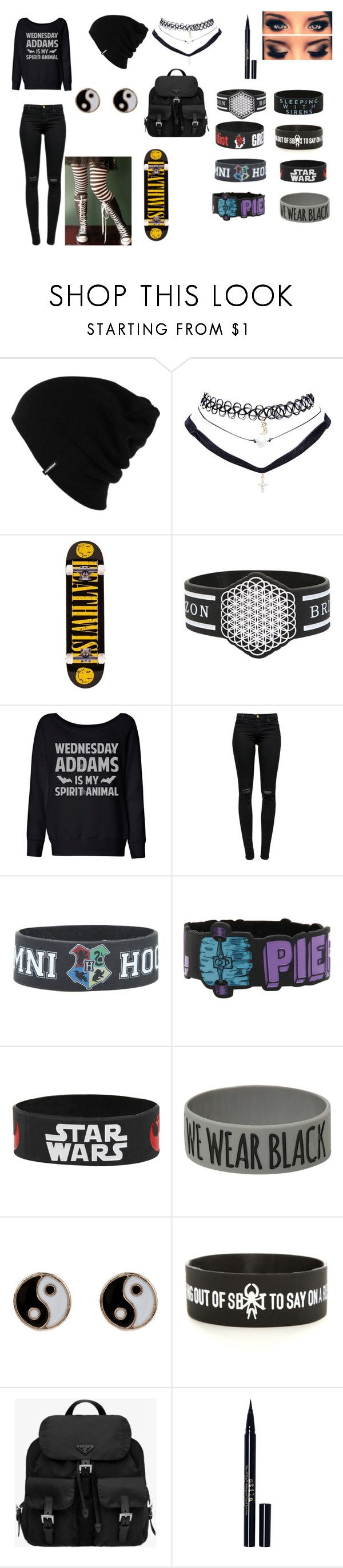 """Wednesday Addams is My Spirit Animal"" by basic-penguin-girl on Polyvore featuring Patagonia, Hot Topic, Converse, Wet Seal, Deathwish, J Brand, Accessorize, Prada and Stila"