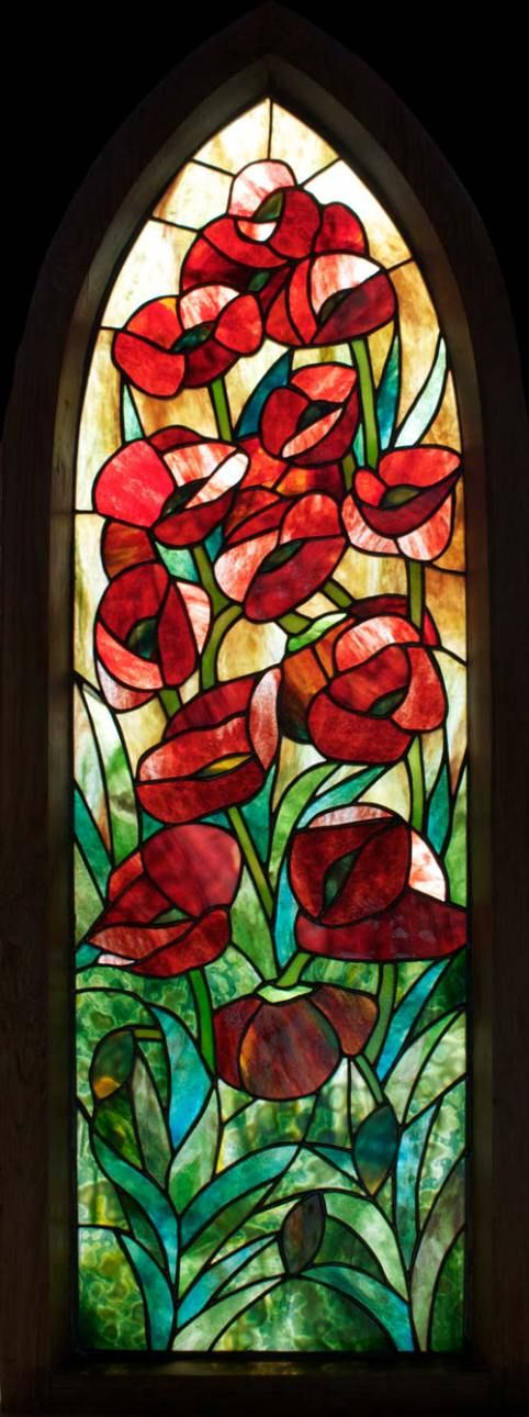 Poppies Framed Stained Gl Panel