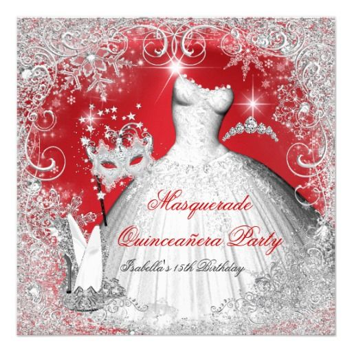 295 best shoes images on pinterest quinceanera quinceanera masquerade red white snowflakes 525x525 square paper invitation card stopboris Choice Image