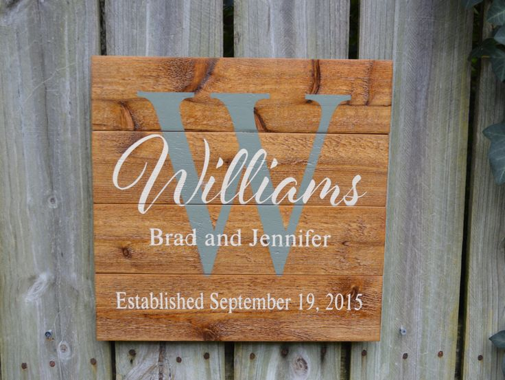 Personalized Wedding Gift, Custom Name Sign, Cedar Last Name Wood Sign, Rustic Family Established Sign, Personalized Name Sign by PrattosCreations on Etsy https://www.etsy.com/listing/250441329/personalized-wedding-gift-custom-name