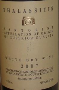 White Greek wine from Santorini.