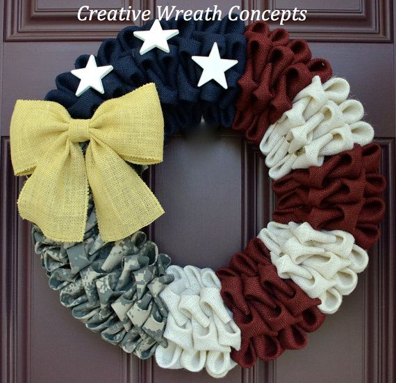 Rustic Patriotic US Army Wreath by CreativWreathConcept on Etsy