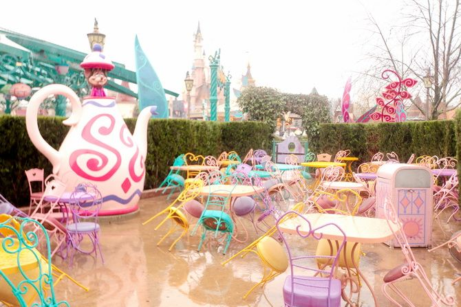 Mad Hare's tea party by Alice's maze in Fantasyland, Disneyland Paris